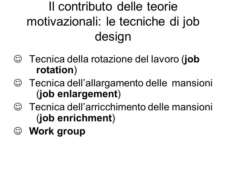 Il contributo delle teorie motivazionali: le tecniche di job design Tecnica della rotazione del lavoro (job rotation) Tecnica dellallargamento delle m