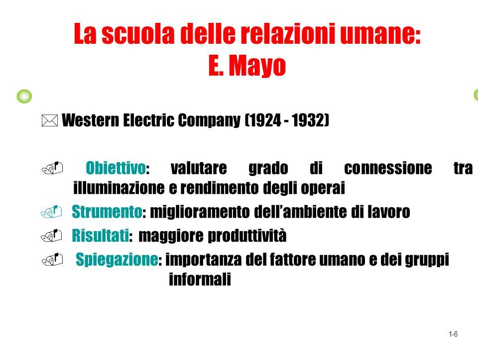 La scuola delle relazioni umane: E. Mayo Western Electric Company (1924 - 1932) Obiettivo: valutare grado di connessione tra illuminazione e rendiment