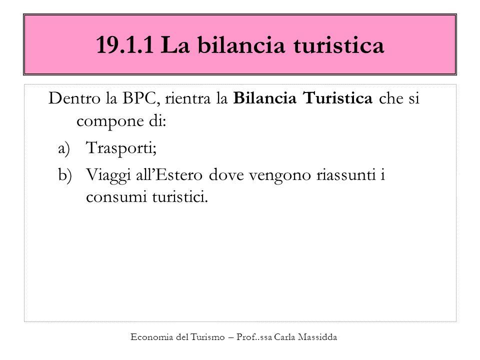 Economia del Turismo – Prof..ssa Carla Massidda 19.1.1 La bilancia turistica Dentro la BPC, rientra la Bilancia Turistica che si compone di: a)Traspor