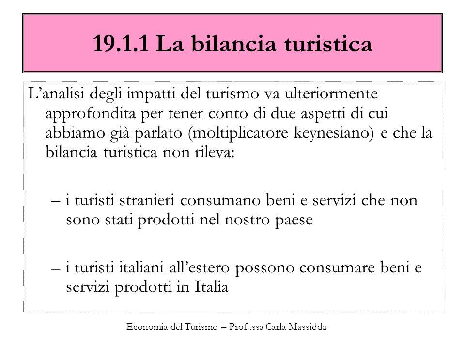 Economia del Turismo – Prof..ssa Carla Massidda 19.1.1 La bilancia turistica Lanalisi degli impatti del turismo va ulteriormente approfondita per tene