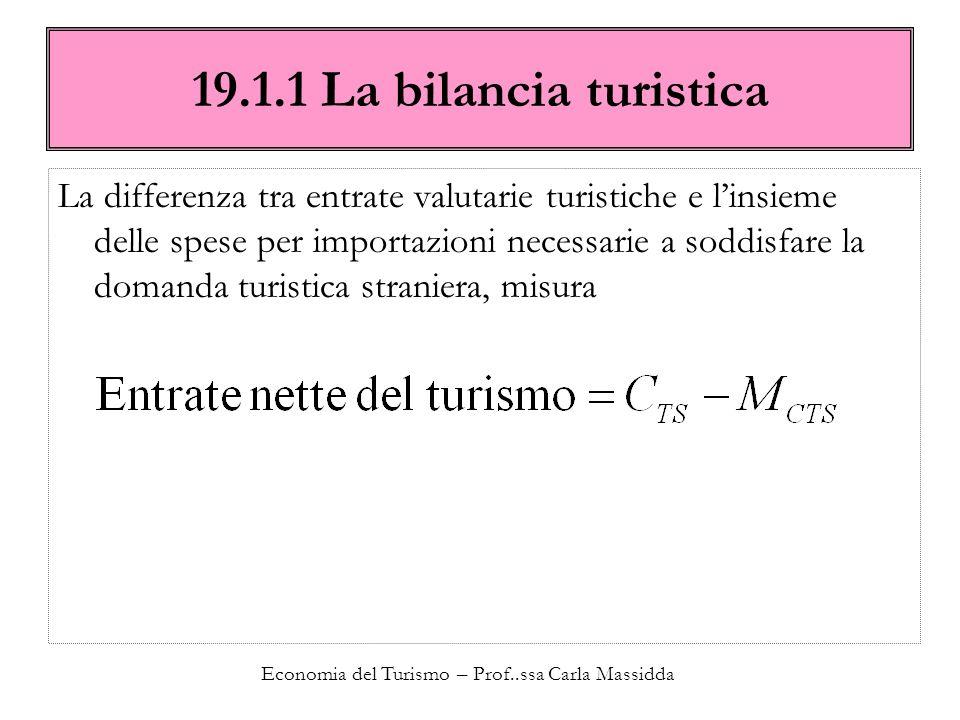 Economia del Turismo – Prof..ssa Carla Massidda 19.1.1 La bilancia turistica La differenza tra entrate valutarie turistiche e linsieme delle spese per