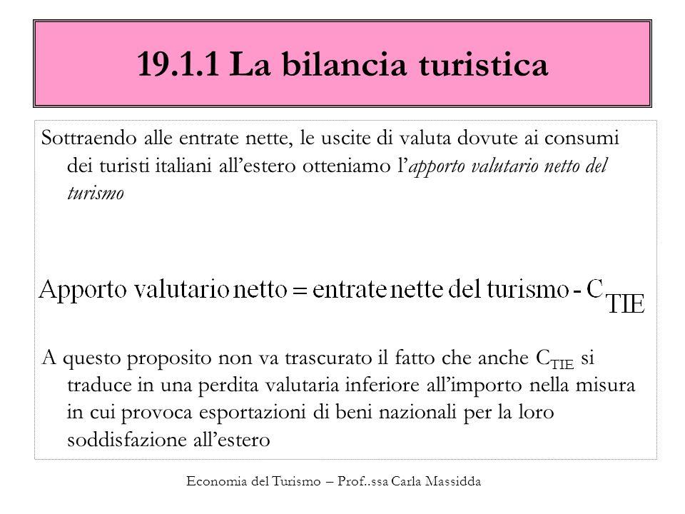 Economia del Turismo – Prof..ssa Carla Massidda 19.1.1 La bilancia turistica Sottraendo alle entrate nette, le uscite di valuta dovute ai consumi dei