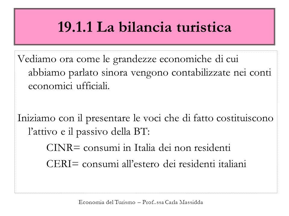 Economia del Turismo – Prof..ssa Carla Massidda 19.1.1 La bilancia turistica Vediamo ora come le grandezze economiche di cui abbiamo parlato sinora ve