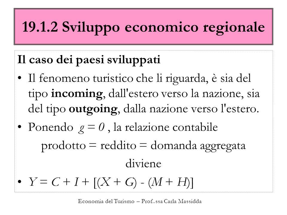 Economia del Turismo – Prof..ssa Carla Massidda 19.1.2 Sviluppo economico regionale Il caso dei paesi sviluppati Il fenomeno turistico che li riguarda