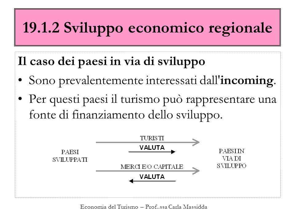 Economia del Turismo – Prof..ssa Carla Massidda 19.1.2 Sviluppo economico regionale Il caso dei paesi in via di sviluppo Sono prevalentemente interess