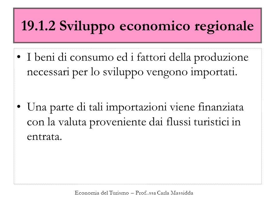 Economia del Turismo – Prof..ssa Carla Massidda 19.1.2 Sviluppo economico regionale I beni di consumo ed i fattori della produzione necessari per lo s