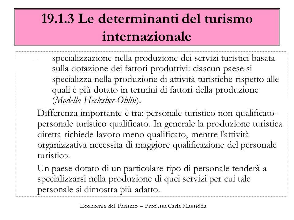 Economia del Turismo – Prof..ssa Carla Massidda 19.1.3 Le determinanti del turismo internazionale –specializzazione nella produzione dei servizi turis