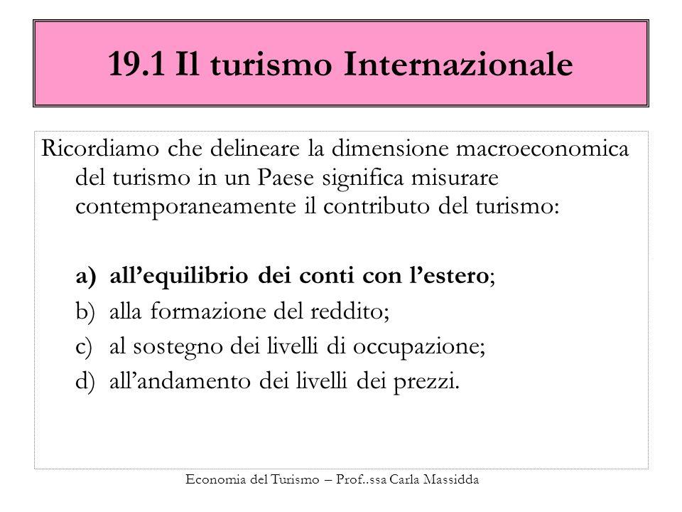 Economia del Turismo – Prof..ssa Carla Massidda 19.1 Il turismo Internazionale Ricordiamo che delineare la dimensione macroeconomica del turismo in un