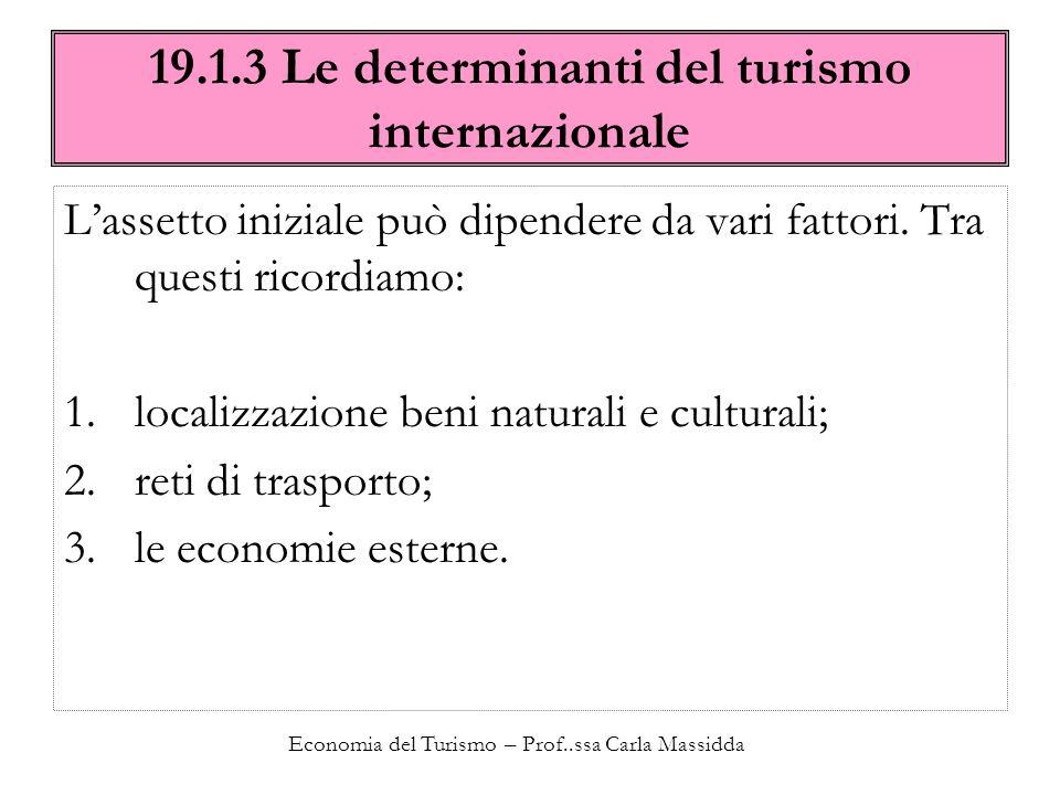 Economia del Turismo – Prof..ssa Carla Massidda 19.1.3 Le determinanti del turismo internazionale Lassetto iniziale può dipendere da vari fattori. Tra