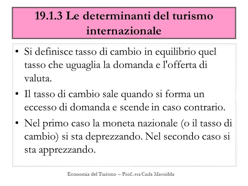 Economia del Turismo – Prof..ssa Carla Massidda 19.1.3 Le determinanti del turismo internazionale Si definisce tasso di cambio in equilibrio quel tass