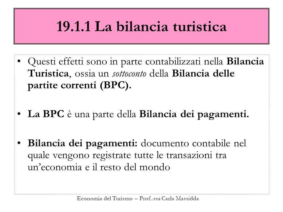 Economia del Turismo – Prof..ssa Carla Massidda 19.1.1 La bilancia turistica Questi effetti sono in parte contabilizzati nella Bilancia Turistica, oss