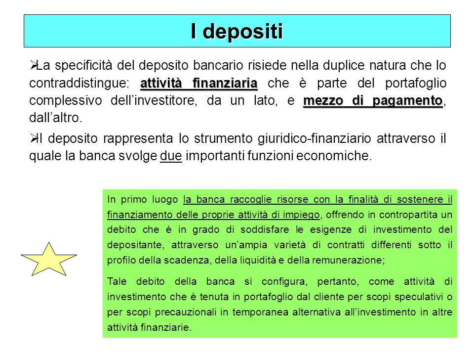 10 I depositi attività finanziaria mezzo di pagamento La specificità del deposito bancario risiede nella duplice natura che lo contraddistingue: attiv