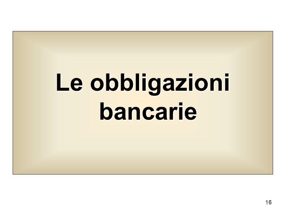 16 Le obbligazioni bancarie