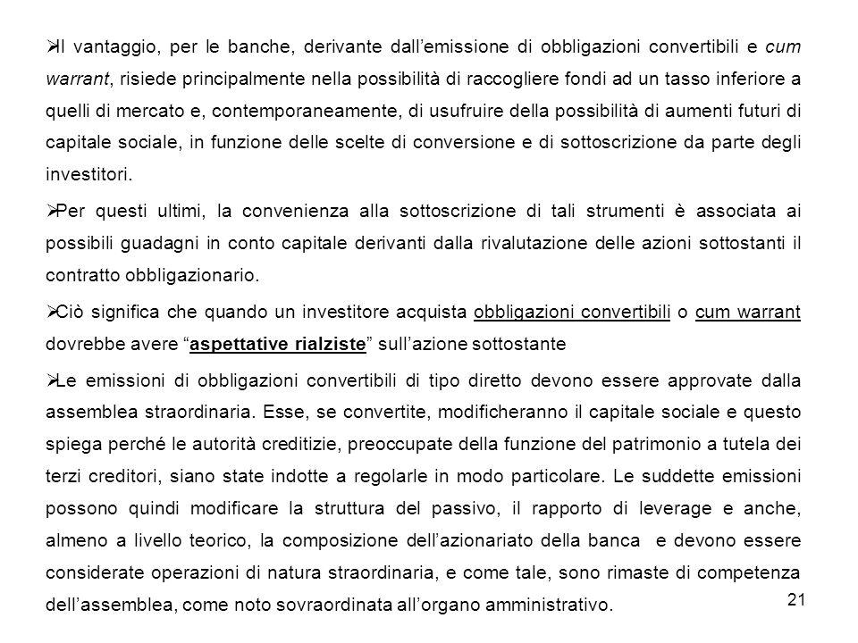 21 Il vantaggio, per le banche, derivante dallemissione di obbligazioni convertibili e cum warrant, risiede principalmente nella possibilità di raccog