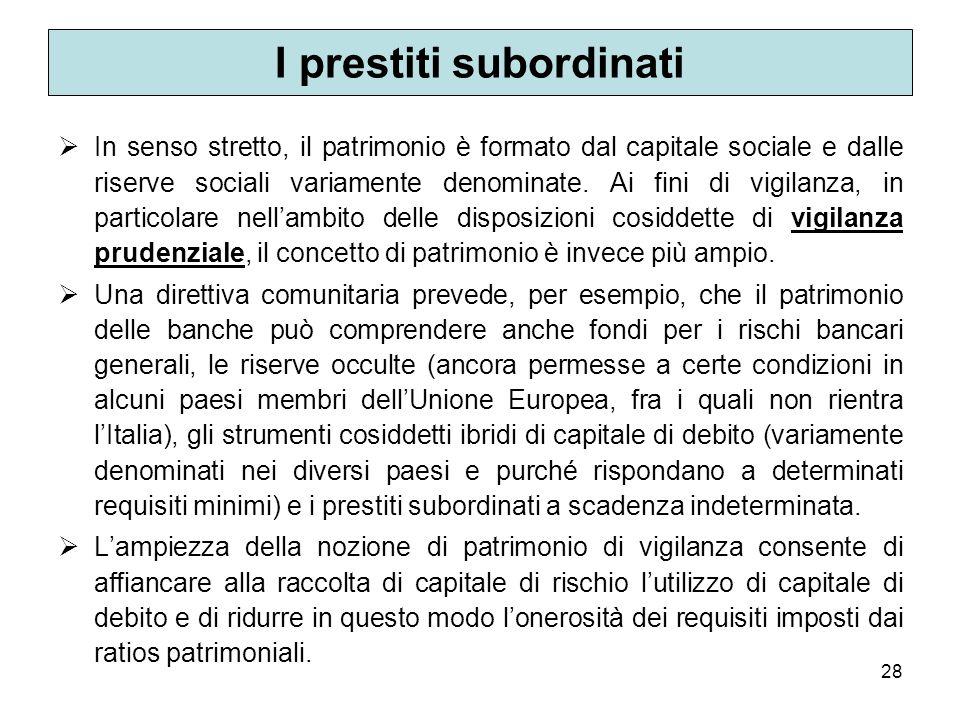 28 I prestiti subordinati In senso stretto, il patrimonio è formato dal capitale sociale e dalle riserve sociali variamente denominate. Ai fini di vig
