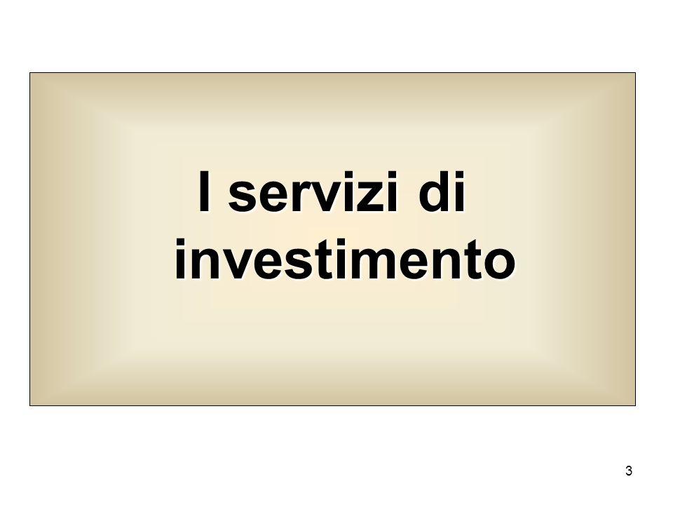 4 esigenze di investimento La seconda principale area di servizi bancari riguarda linsieme di quei prodotti che soddisfano le esigenze di investimento della clientela.