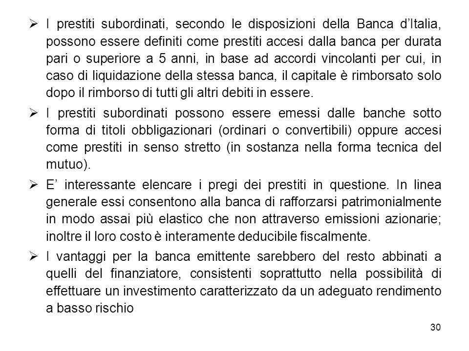 30 I prestiti subordinati, secondo le disposizioni della Banca dItalia, possono essere definiti come prestiti accesi dalla banca per durata pari o sup