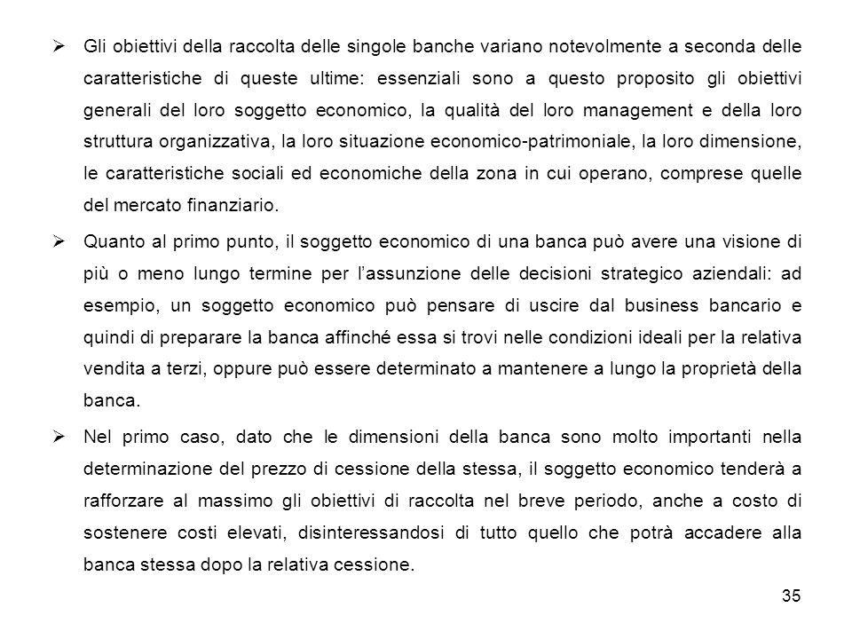 35 Gli obiettivi della raccolta delle singole banche variano notevolmente a seconda delle caratteristiche di queste ultime: essenziali sono a questo p