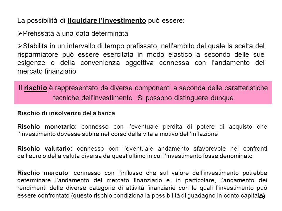 46 La possibilità di liquidare linvestimento può essere: Prefissata a una data determinata Stabilita in un intervallo di tempo prefissato, nellambito