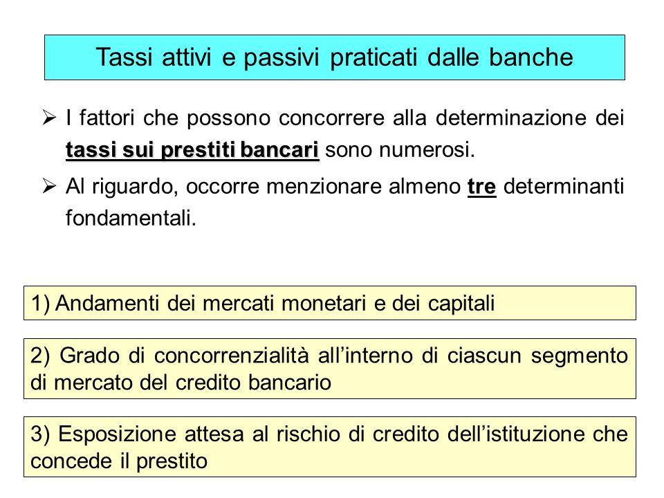 49 tassi sui prestiti bancari I fattori che possono concorrere alla determinazione dei tassi sui prestiti bancari sono numerosi. Al riguardo, occorre