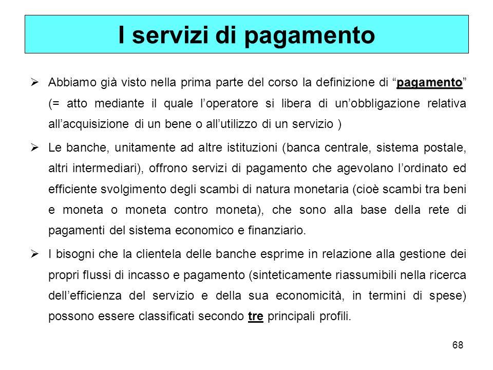 68 I servizi di pagamento pagamento Abbiamo già visto nella prima parte del corso la definizione di pagamento (= atto mediante il quale loperatore si