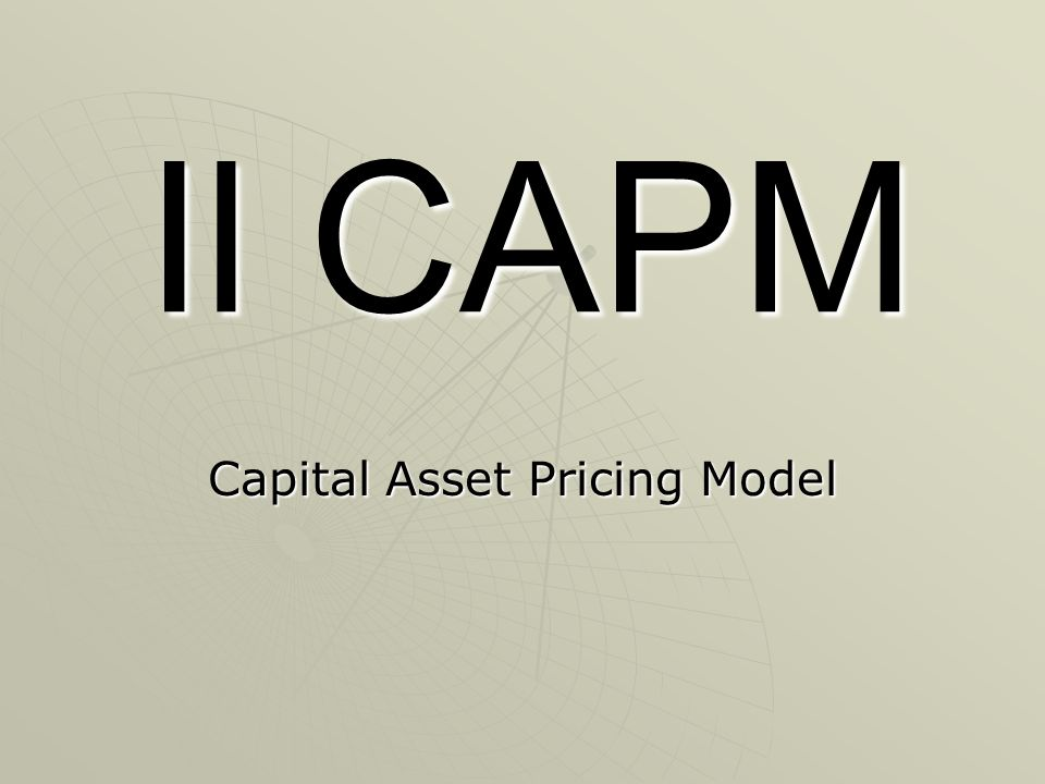 Il CAPM Capital Asset Pricing Model