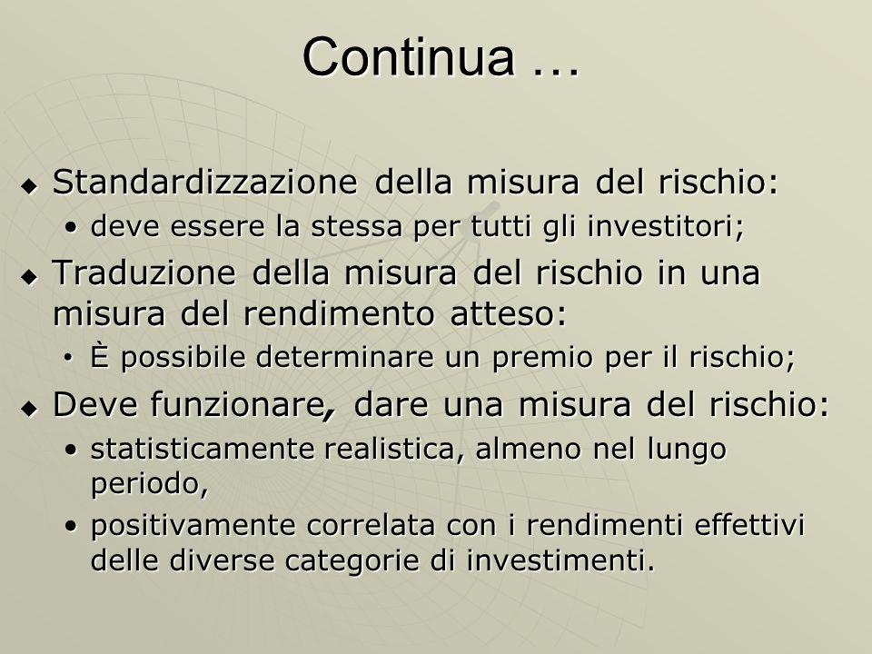 Continua … Standardizzazione della misura del rischio: Standardizzazione della misura del rischio: deve essere la stessa per tutti gli investitori;dev