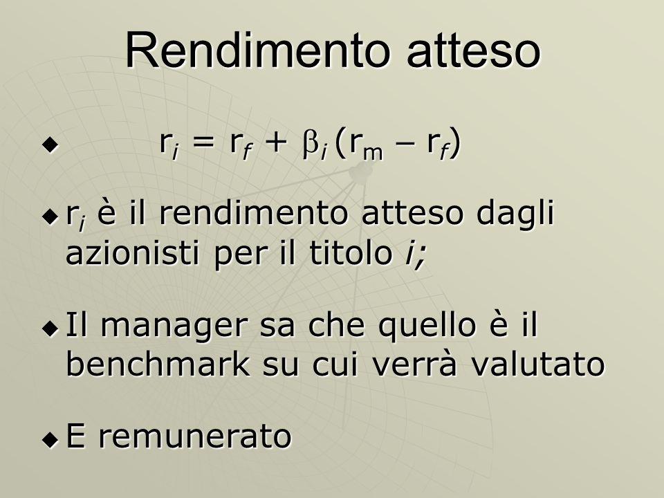 Rendimento atteso r i = r f + i (r m – r f ) r i = r f + i (r m – r f ) r i è il rendimento atteso dagli azionisti per il titolo i; r i è il rendiment