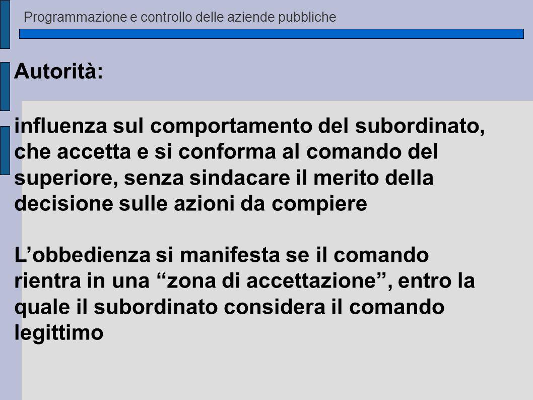 Autorità: influenza sul comportamento del subordinato, che accetta e si conforma al comando del superiore, senza sindacare il merito della decisione s