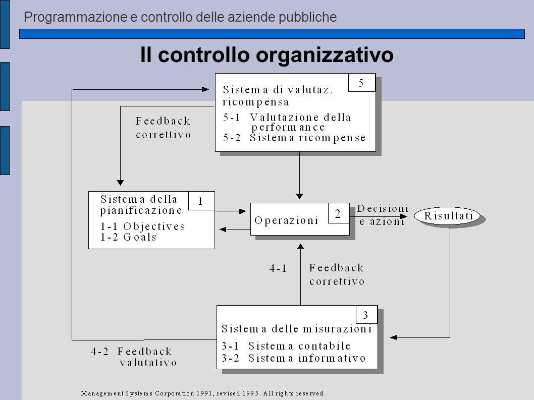 Programmazione e controllo delle aziende pubbliche Il controllo organizzativo