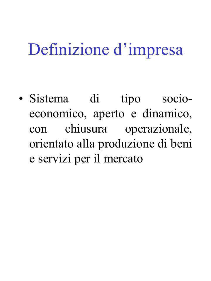 Definizione dimpresa Sistema di tipo socio- economico, aperto e dinamico, con chiusura operazionale, orientato alla produzione di beni e servizi per il mercato