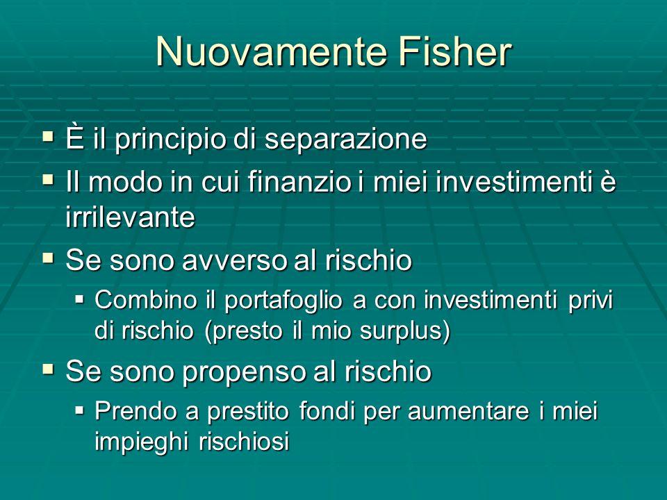 Nuovamente Fisher È il principio di separazione È il principio di separazione Il modo in cui finanzio i miei investimenti è irrilevante Il modo in cui finanzio i miei investimenti è irrilevante Se sono avverso al rischio Se sono avverso al rischio Combino il portafoglio a con investimenti privi di rischio (presto il mio surplus) Combino il portafoglio a con investimenti privi di rischio (presto il mio surplus) Se sono propenso al rischio Se sono propenso al rischio Prendo a prestito fondi per aumentare i miei impieghi rischiosi Prendo a prestito fondi per aumentare i miei impieghi rischiosi