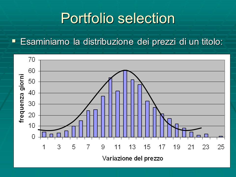 Portfolio selection Esaminiamo la distribuzione dei prezzi di un titolo: Esaminiamo la distribuzione dei prezzi di un titolo: