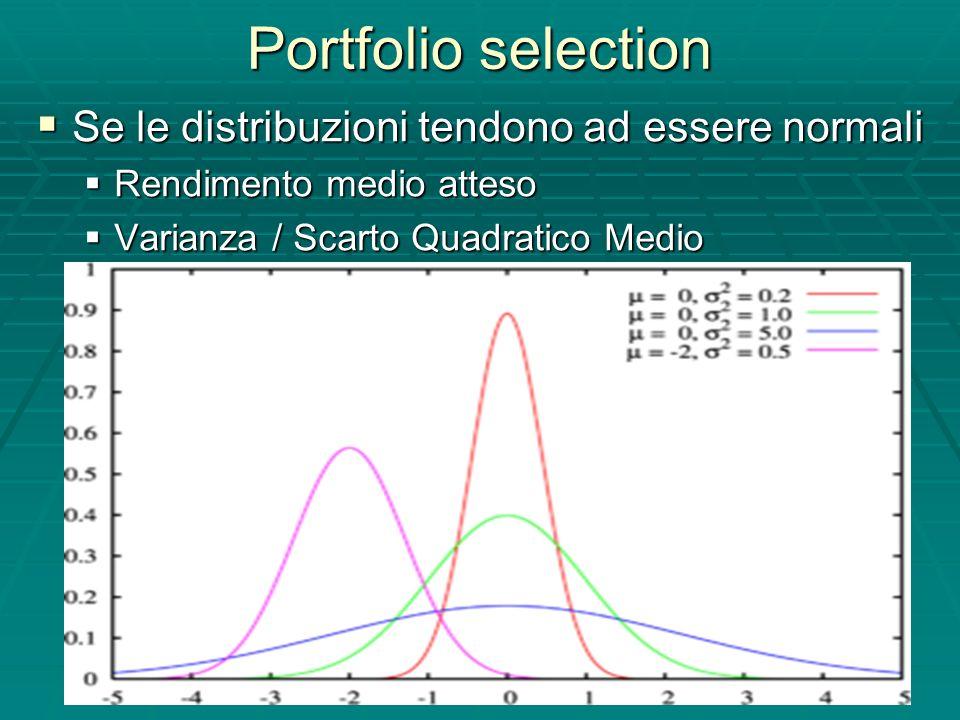 Portfolio selection Se le distribuzioni tendono ad essere normali Se le distribuzioni tendono ad essere normali Rendimento medio atteso Rendimento medio atteso Varianza / Scarto Quadratico Medio Varianza / Scarto Quadratico Medio