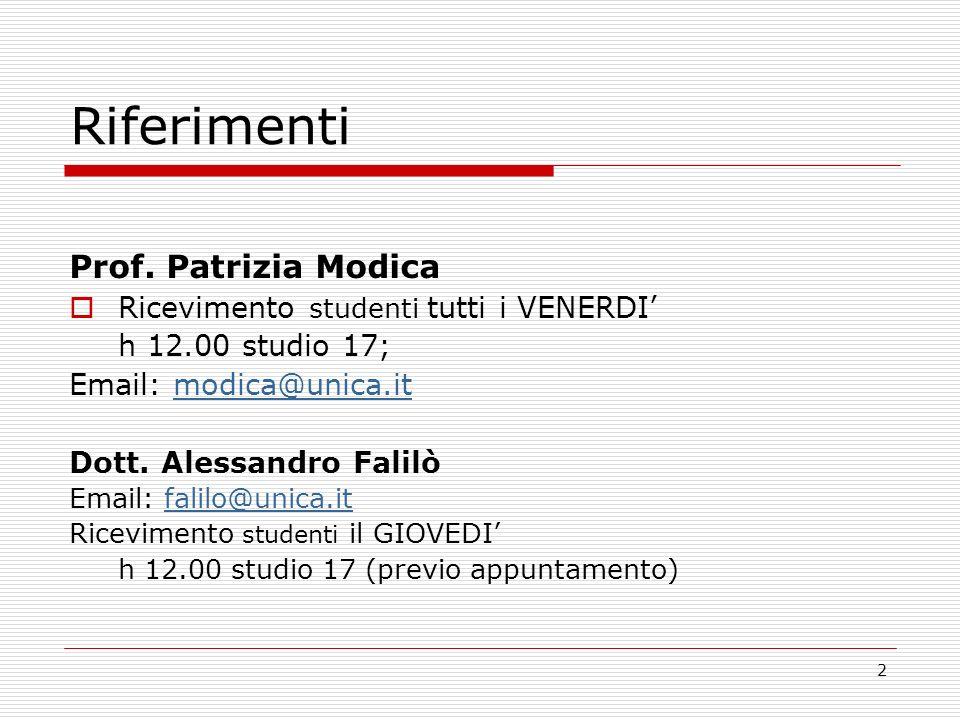 2 Riferimenti Prof. Patrizia Modica Ricevimento studenti tutti i VENERDI h 12.00 studio 17; Email: modica@unica.itmodica@unica.it Dott. Alessandro Fal