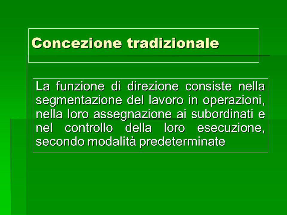 Concezione tradizionale La funzione di direzione consiste nella segmentazione del lavoro in operazioni, nella loro assegnazione ai subordinati e nel c