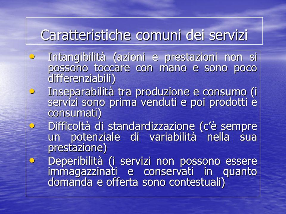 Caratteristiche comuni dei servizi Intangibilità (azioni e prestazioni non si possono toccare con mano e sono poco differenziabili) Intangibilità (azi