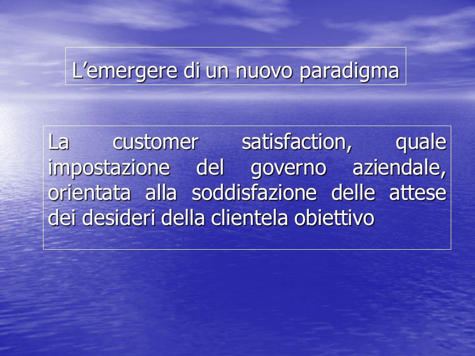 Lemergere di un nuovo paradigma La customer satisfaction, quale impostazione del governo aziendale, orientata alla soddisfazione delle attese dei desi