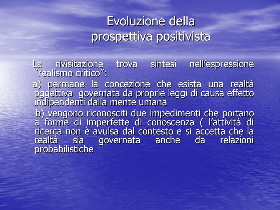Evoluzione della prospettiva positivista La rivisitazione trova sintesi nellespressione realismo critico: La rivisitazione trova sintesi nellespressio