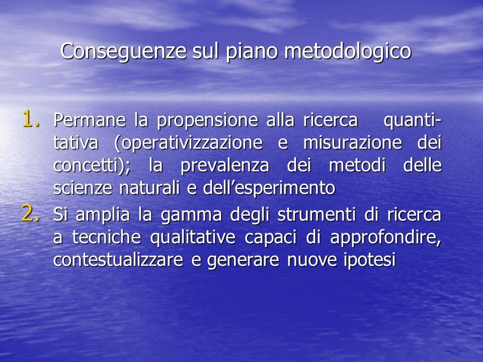 Conseguenze sul piano metodologico 1. Permane la propensione alla ricerca quanti- tativa (operativizzazione e misurazione dei concetti); la prevalenza