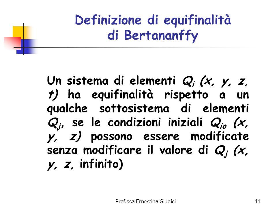 Prof.ssa Ernestina Giudici11 Definizione di equifinalità di Bertananffy Un sistema di elementi Q i (x, y, z, t) ha equifinalità rispetto a un qualche