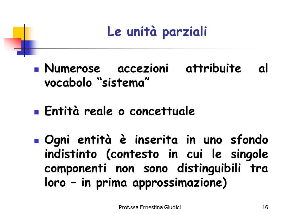 Prof.ssa Ernestina Giudici16 Le unità parziali Numerose accezioni attribuite al vocabolo sistema Entità reale o concettuale Ogni entità è inserita in