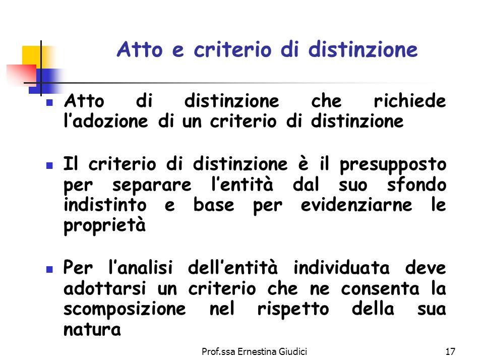 Prof.ssa Ernestina Giudici17 Atto e criterio di distinzione Atto di distinzione che richiede ladozione di un criterio di distinzione Il criterio di di