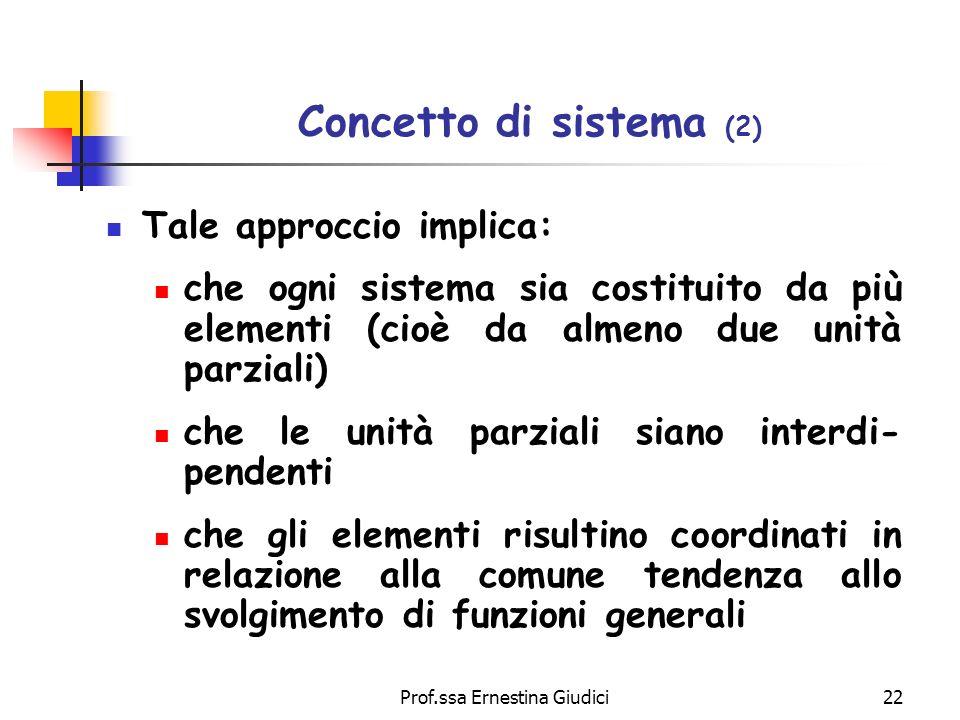 Prof.ssa Ernestina Giudici22 Concetto di sistema (2) Tale approccio implica: che ogni sistema sia costituito da più elementi (cioè da almeno due unità