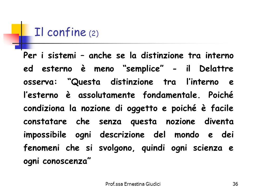 Prof.ssa Ernestina Giudici36 Il confine (2) Per i sistemi – anche se la distinzione tra interno ed esterno è meno semplice - il Delattre osserva: Ques
