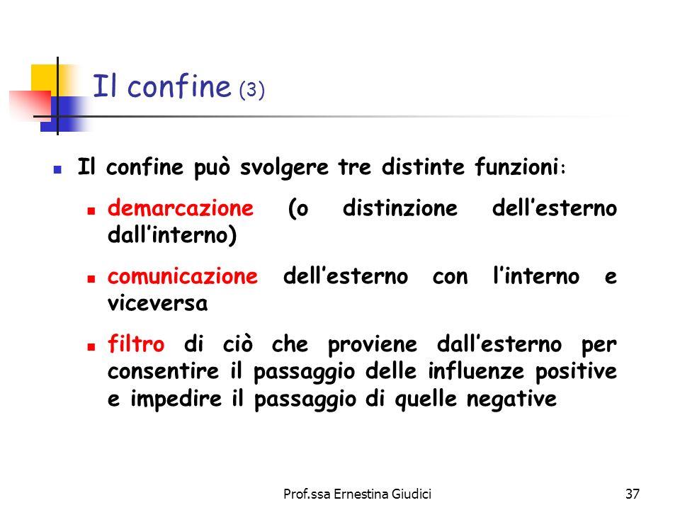 Prof.ssa Ernestina Giudici37 Il confine (3) Il confine può svolgere tre distinte funzioni : demarcazione (o distinzione dellesterno dallinterno) comun