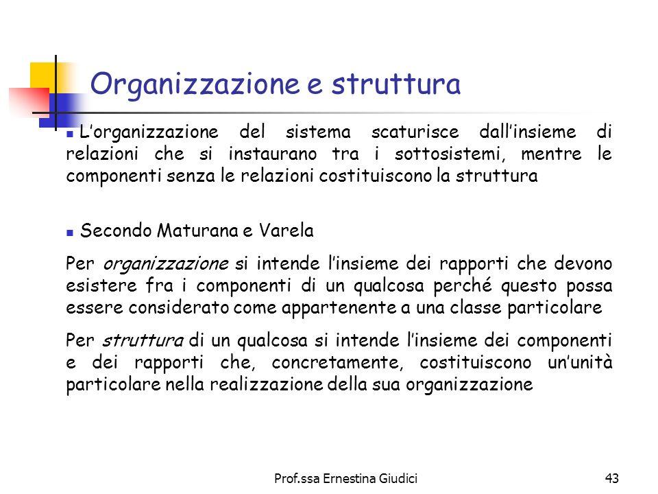 Prof.ssa Ernestina Giudici43 Organizzazione e struttura Lorganizzazione del sistema scaturisce dallinsieme di relazioni che si instaurano tra i sottos