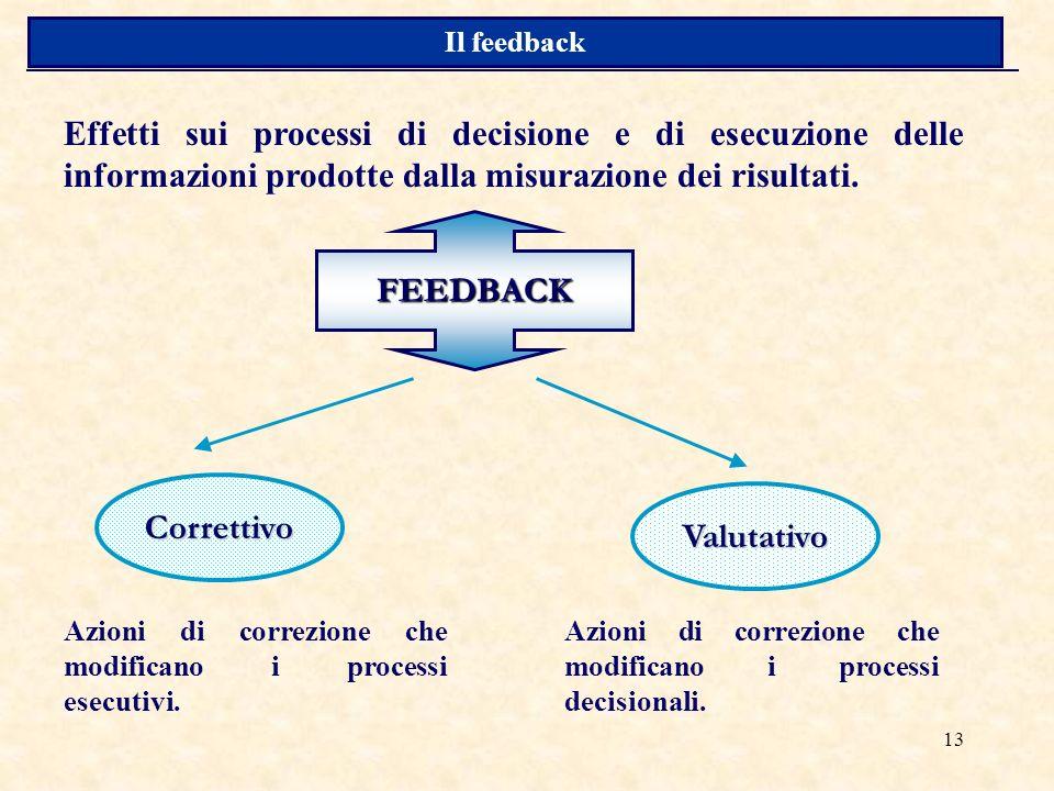 13 FEEDBACK Effetti sui processi di decisione e di esecuzione delle informazioni prodotte dalla misurazione dei risultati.