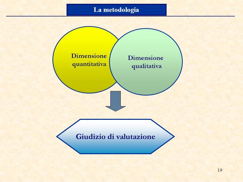 19 La metodologia Dimensione quantitativa Dimensione qualitativa Giudizio di valutazione