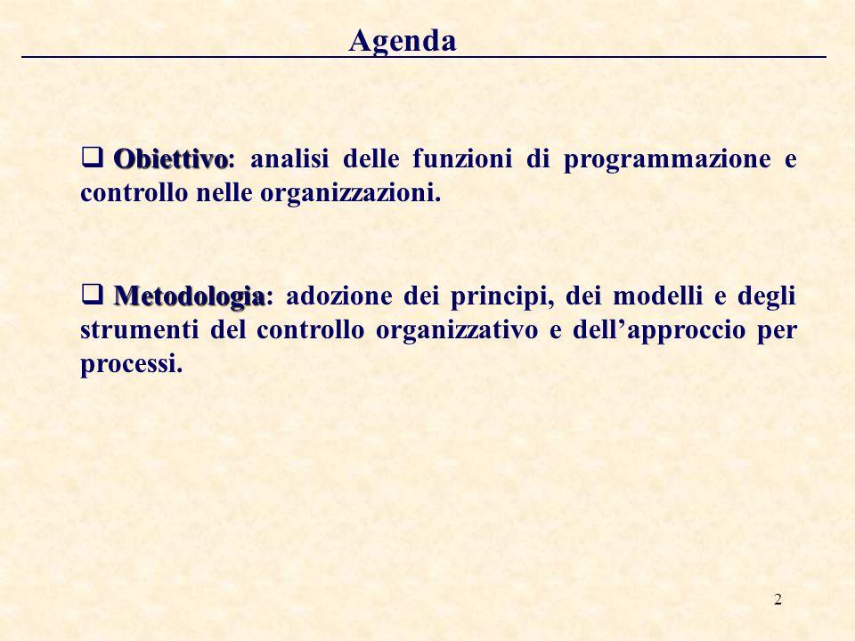 2 Agenda Obiettivo Obiettivo: analisi delle funzioni di programmazione e controllo nelle organizzazioni.